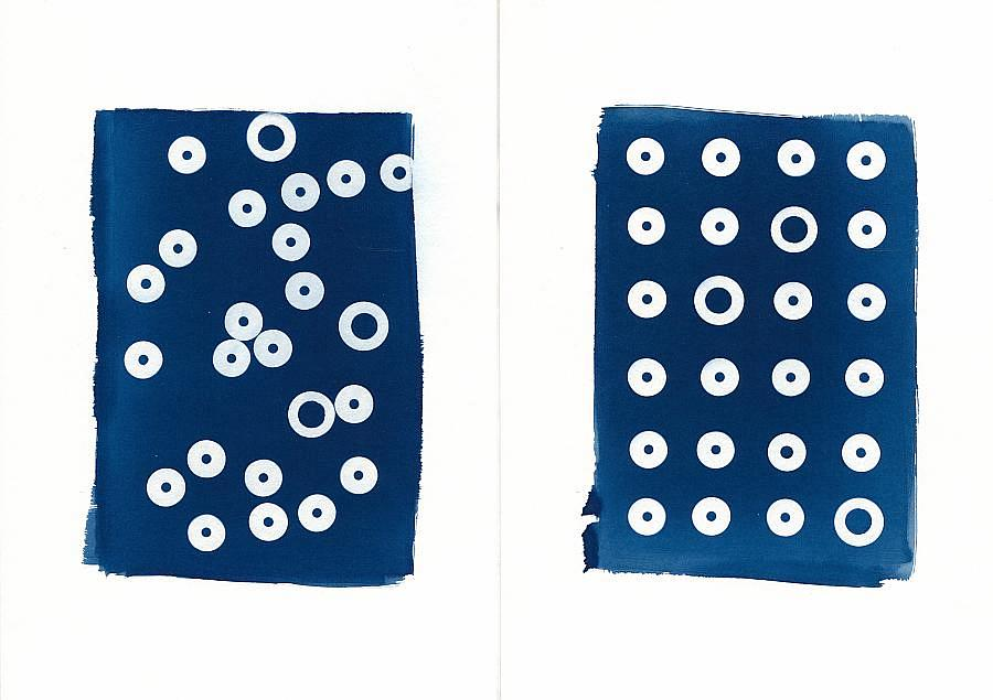 Cyanotype two element print abstract geometry design