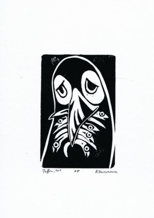 Sad puffin. Limited volume liotyme print A4