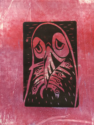 Sad puffin. Limited edition linotype over monotype A4