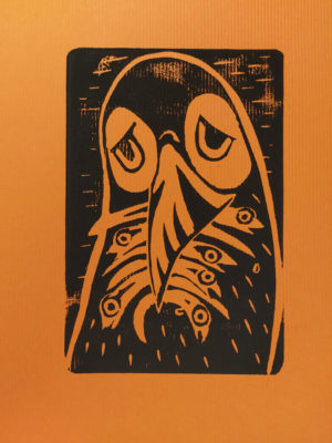 Sad puffin. Limited edition linotype on yellow ribbed paper. A4